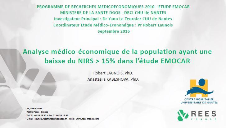 Analyse médico-économique de la population ayant une baisse du NIRS > 15% dans l'étude EMOCAR