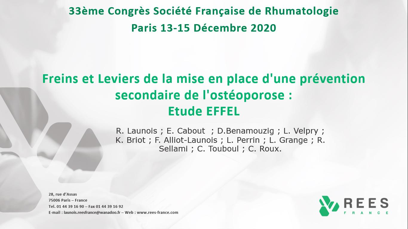 Participation au XXXIIIe Congrès de la Société Française de Rhumatologie